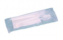 Kit couverts blancs serviette/couteau/fourchette/petite cuillère