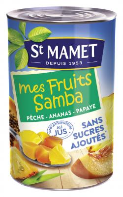 Mélange de fruits pêche, ananas, papaye