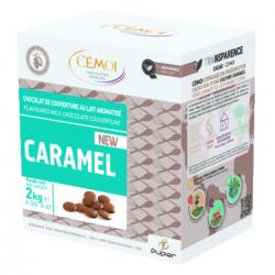 Chocolat lait aromatisé caramel en palets