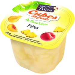 Cubes de poire au sirop léger